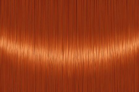 Fondo de pelo lacio rojo jengibre realista con detalle brillante brillante. Ilustración vectorial
