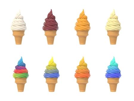 Satz Softeis in Waffeltüten, Sortiment der Geschmäcker, lokalisiert auf weißem Hintergrund. 3D-Illustration Standard-Bild