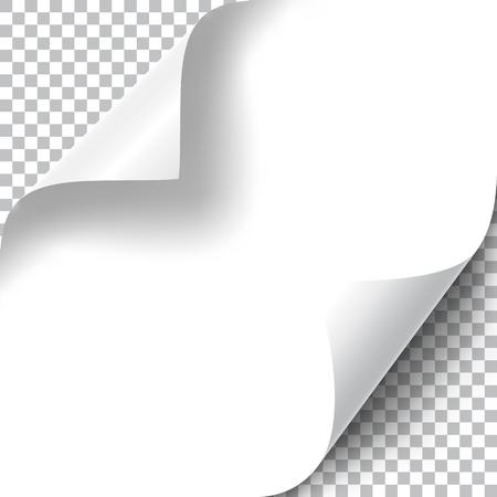 Curly Page Corners set. Realistic illustration with transparent shadow. Vector illustration. Ilustração