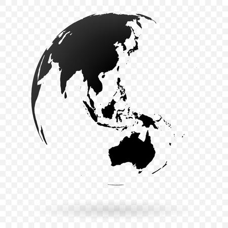 Symbole de globe terrestre très détaillé, océans Australie, Indien et Pacifique. Noir sur fond blanc.