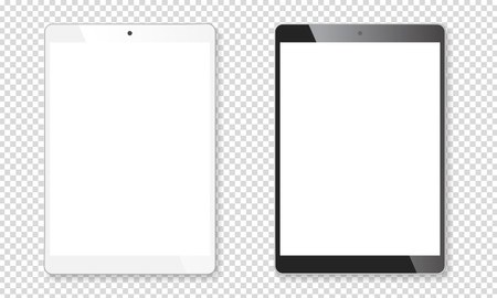 Realistic tablet portable pads set. Contemporary black and white mobile gadgets. Vector illustration