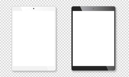 Set di cuscinetti portatili per tablet realistici. Gadget mobili contemporanei in bianco e nero. Illustrazione vettoriale