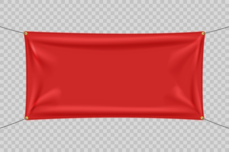 Red textile banner with folds. Blank hanging fabric template. Empty mockup. Vector illustration