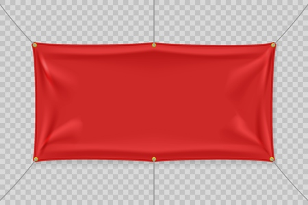 Red textile banner with folds. Blank hanging fabric template. Empty mockup. Vector illustration Vektoros illusztráció