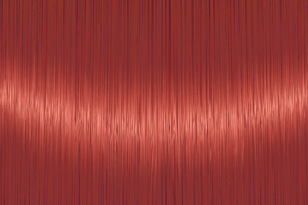 Realistic bright red straight hair texture with glossy shiny detail. Vector illustration.