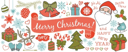 Christmas doodles banner or greeting card hand drawn in line art style, isolated on white background. Vector illustration.
