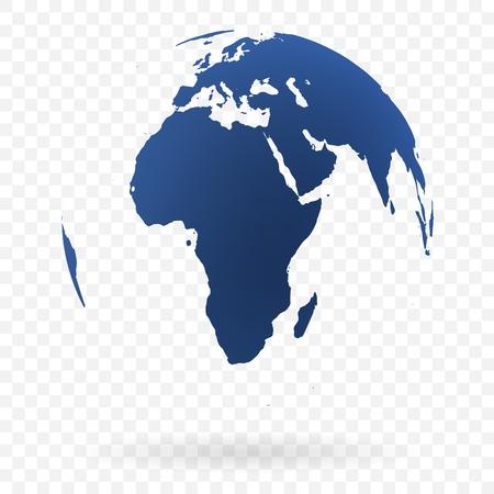 Símbolo de globo terráqueo altamente detallado, África y Medio Oriente. Negro sobre fondo blanco. Ilustración de vector