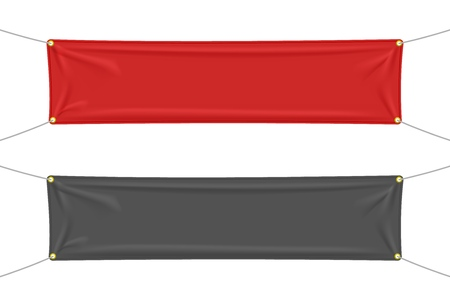 Black and red textile banners with folds, isolated on white background. Blank hanging fabric template set. Vector illustration Imagens