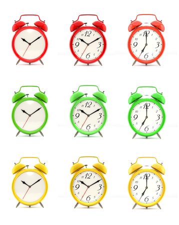 Set of nine vintage alarm clocks in green, red and yellow, with and without numbers, isolated on white background. 3D illustration
