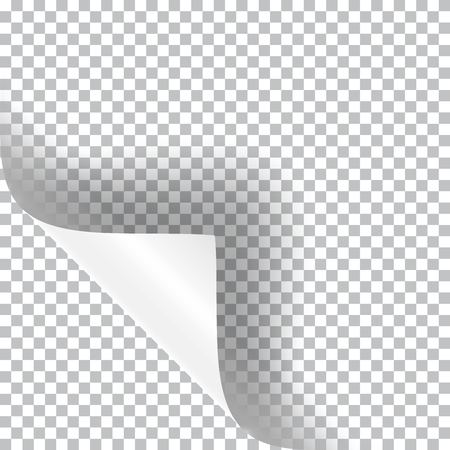 Curly corner of a paper sheet, realistic vector illustration with transparent shadow.