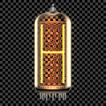 Nixie tube indicator lamp with letter H lit up, as retro-styled digitron alphabet. Transparent vector illustration.