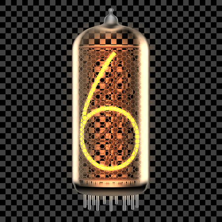 Nixie tube indicator lamp with number 6 lit up, as retro-styled digitron. Transparent vector illustration.