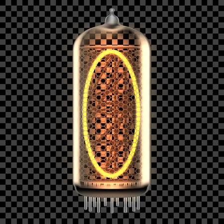 Nixie tube indicator lamp with letter O lit up, as retro-styled digitron alphabet. Transparent vector illustration. Vettoriali
