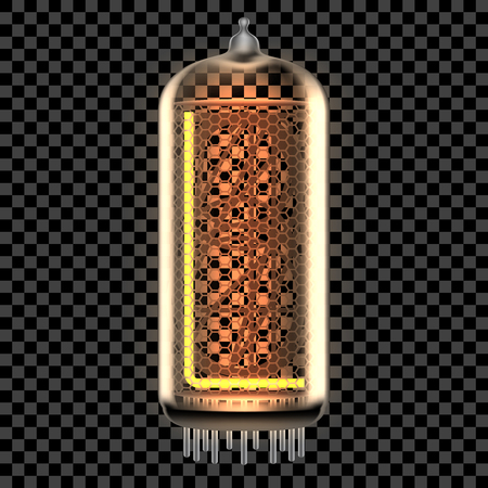 Nixie tube indicator lamp with letter L lit up, as retro-styled digitron alphabet. Transparent vector illustration.