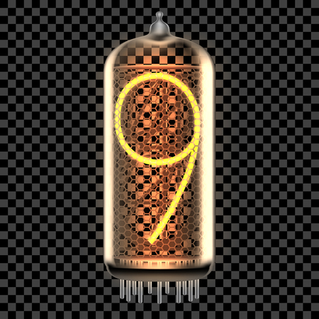 Nixie tube indicator lamp with number 9 lit up, as retro-styled digitron. Transparent vector illustration.