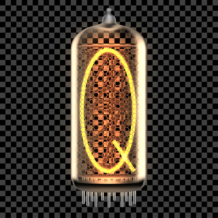 Nixie tube indicator lamp with letter Q lit up, as retro-styled digitron alphabet. Transparent vector illustration.