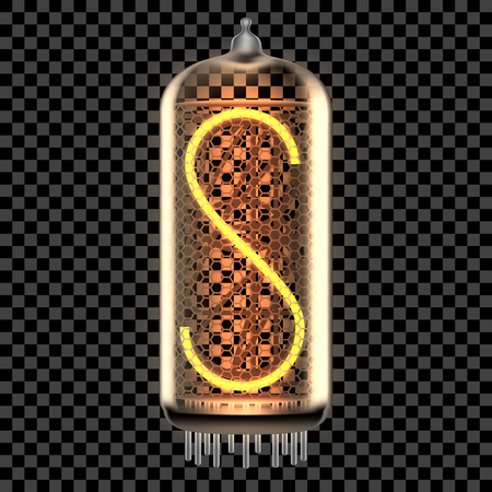 Nixie tube indicator lamp with letter S lit up, as retro-styled digitron alphabet. Transparent vector illustration. 일러스트