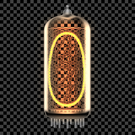 Nixie tube indicator lamp with number 0 lit up, as retro-styled digitron. Transparent vector illustration.