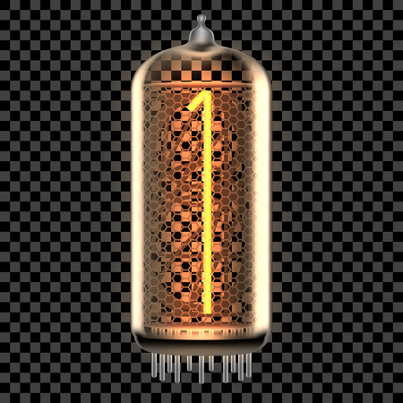 Nixie tube indicator lamp with number 1 lit up, as retro-styled digitron. Transparent vector illustration.