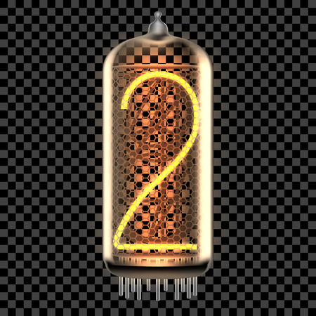 Nixie tube indicator lamp with number 2 lit up, as retro-styled digitron. Transparent vector illustration.