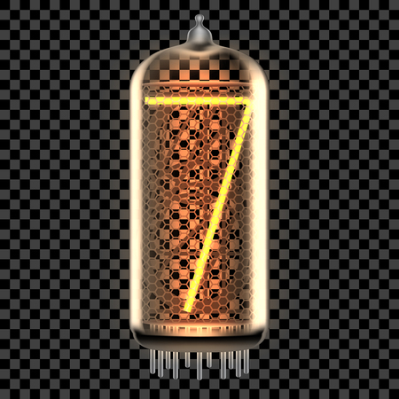 Nixie tube indicator lamp with number 7 lit up, as retro-styled digitron. Transparent vector illustration.
