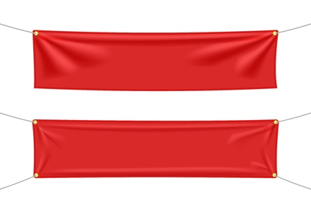 Red textile banners with folds set, isolated on white background. Blank hanging fabric template set. Vector illustration
