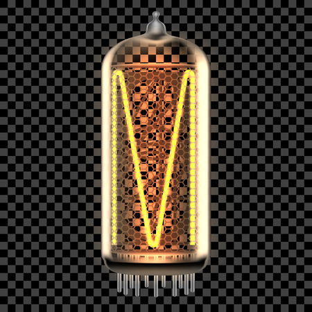 Nixie tube indicator lamp with letter M lit up, as retro-styled digitron alphabet. Transparent vector illustration.