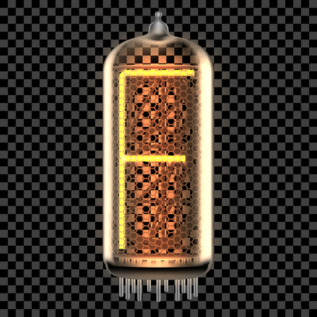 Nixie tube indicator lamp with letter F lit up, as retro-styled digitron alphabet. Transparent vector illustration.
