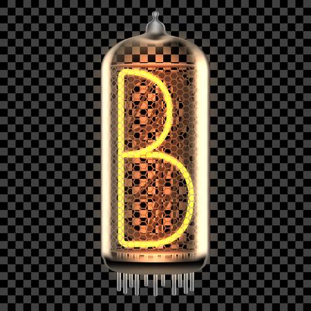 Nixie tube indicator lamp with letter B lit up, as retro-styled digitron alphabet. Transparent vector illustration. 일러스트