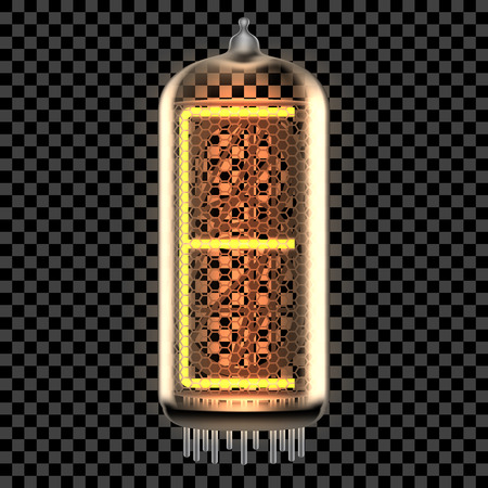 Nixie tube indicator lamp with letter E lit up, as retro-styled digitron alphabet. Transparent vector illustration.