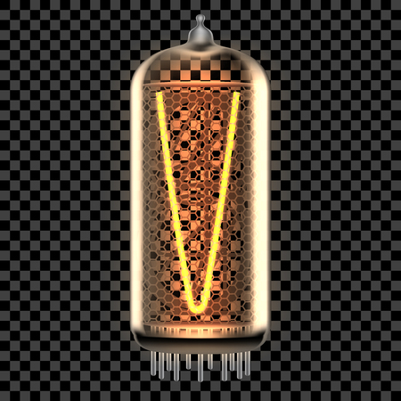 Nixie tube indicator lamp with letter V lit up, as retro-styled digitron alphabet. Transparent vector illustration. Ilustração