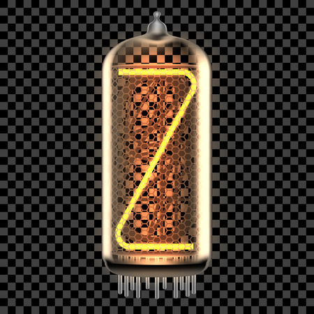 Nixie tube indicator lamp with letter Z lit up, as retro-styled digitron alphabet. Transparent vector illustration.