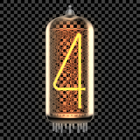 Nixie tube indicator lamp with number 4 lit up, as retro-styled digitron. Transparent vector illustration.