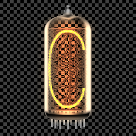 Nixie tube indicator lamp with letter C lit up, as retro-styled digitron alphabet. Transparent vector illustration.