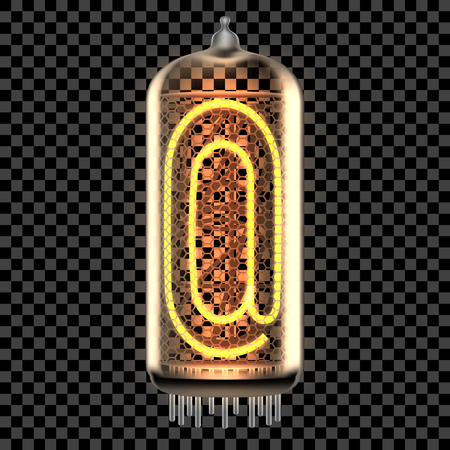 Nixie tube indicator lamp with email Commercial At punctuation symbol lit up, as retro-styled alphabet, includes transparency. Vector illustration.