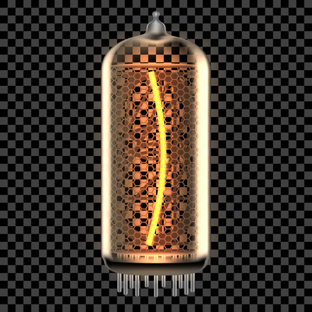 Nixie tube indicator lamp with Bracket punctuation symbol lit up, as retro-styled alphabet, includes transparency. Vector illustration.
