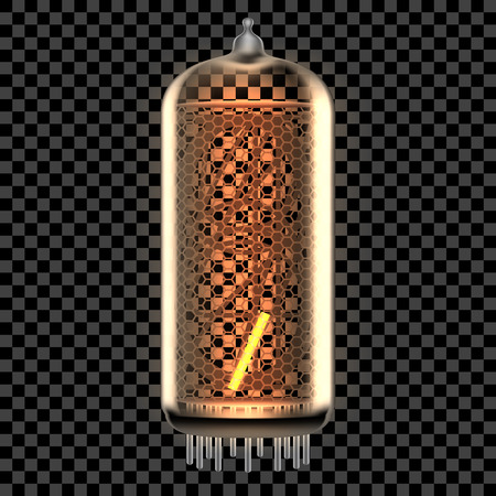 Nixie tube indicator lamp with Apostrophe punctuation symbol lit up, as retro-styled alphabet, includes transparency. Vector illustration.