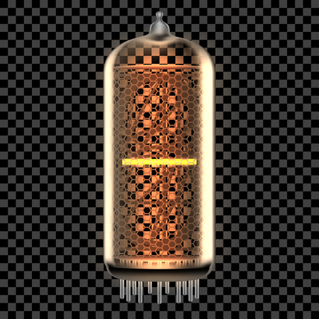 Nixie tube indicator lamp with Hyphen or Dash punctuation symbol or Minus math sign lit up, as retro-styled alphabet, includes transparency. Vector illustration.