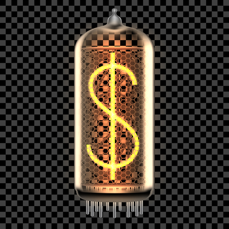 Nixie tube indicator lamp with dollar symbol lit up, as retro-styled alphabet, includes transparency. Vector illustration.