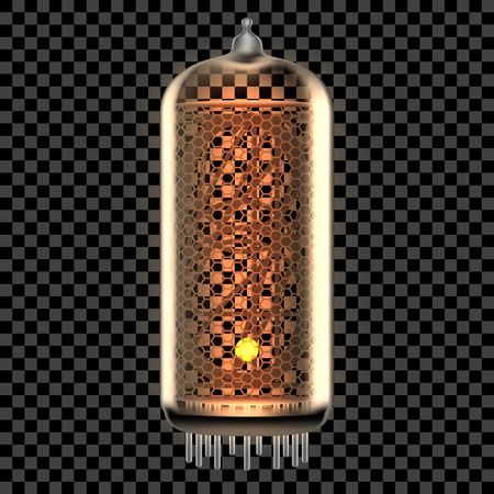 Nixie tube indicator lamp with Dot punctuation symbol or Point math sign lit up, as retro-styled alphabet, includes transparency. Vector illustration.