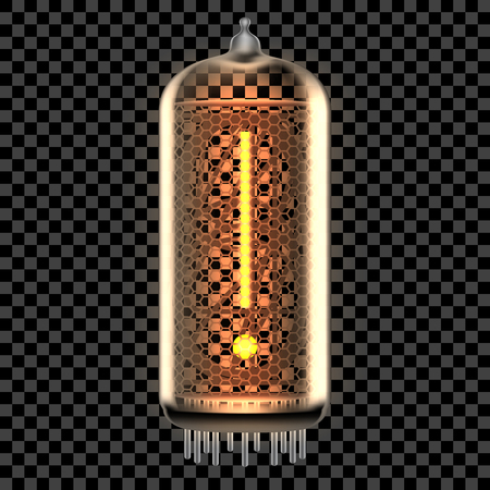 Nixie tube indicator lamp with Exclamation Mark punctuation symbol lit up, as retro-styled alphabet, includes transparency. Vector illustration.