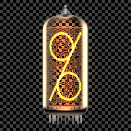 Nixie tube indicator lamp with Percent or Per Cent sign or a percentage symbol, a number or ratio lit up, as retro-styled alphabet, includes transparency. Vector illustration.