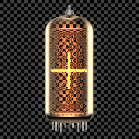 Nixie tube indicator lamp with Plus math symbol lit up, as retro-styled alphabet, includes transparency. Vector illustration.