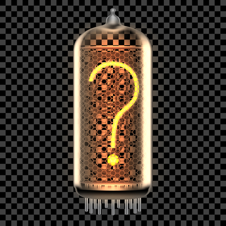 Nixie tube indicator lamp with Question Mark punctuation symbol lit up, as retro-styled alphabet, includes transparency. Vector illustration.