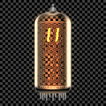 Nixie tube indicator lamp with Quotation Mark punctuation symbol lit up, as retro-styled alphabet, includes transparency. Vector illustration.