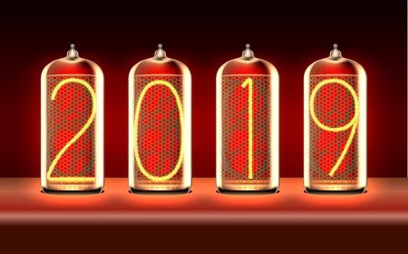 New Year greeting card with 2019 lit up in retro-styled nixie tube indicator lamps, includes transparency. Vector illustration.