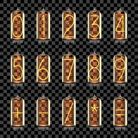 Numbers and math symbols lit up on retro-styled Nixie tube indicator lamps, includes transparency. Vector illustration.