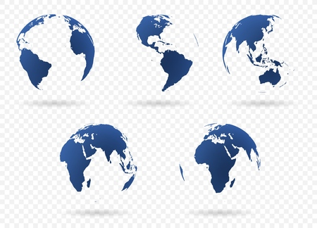 Set of Earth globe icon in different views. Highly detailed images of continents with transparent parts. Vector illustration