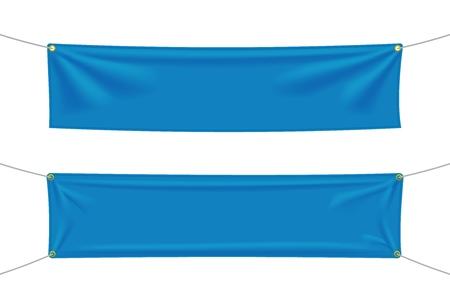 흰색 배경에 분리된 접힌 파란색 섬유 배너입니다. 빈 매달려 패브릭 템플릿 집합입니다. 벡터 일러스트 레이 션 벡터 (일러스트)