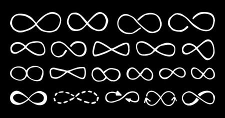 Doodle infinity symbols set hand drawn with single line pen, isolated on black background. Vector illustration.